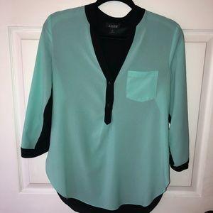 A. Byer Turquoise & Black blouse medium